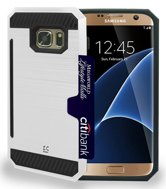 WHITE RUGGED TPU HARD CASE CREDIT CARD SLOT STAND FOR SAMSUNG GALAXY S7 EDGE