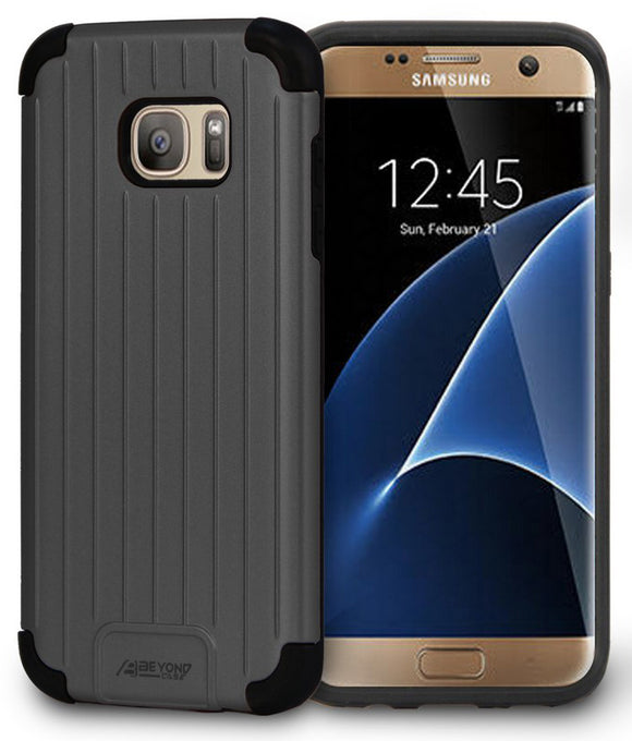 BLACK MATTE METALLIC SLIM DUO-SHIELD CASE COVER FOR SAMSUNG GALAXY S7 EDGE