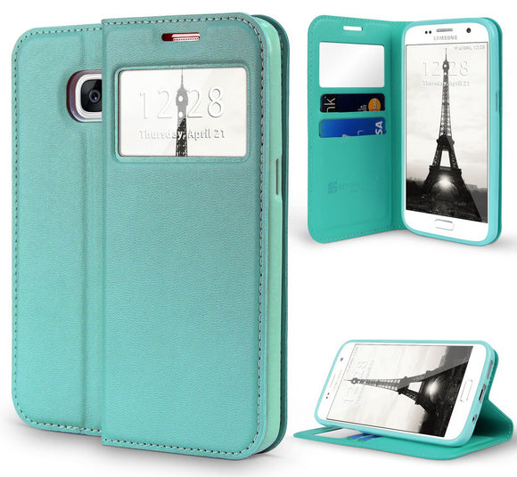 MINT GREEN WINDOW WALLET CREDIT ID CARD CASE STAND FOR SAMSUNG GALAXY S7 EDGE