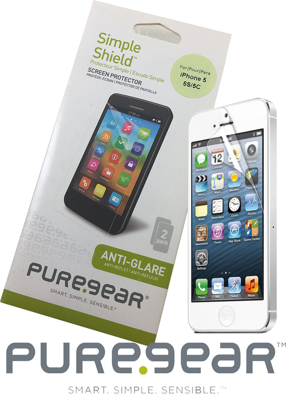 2 PUREGEAR ANTI-GLARE SCREEN PROTECTOR SIMPLE SHIELD FOR iPHONE 5 5s 5c SE 2016