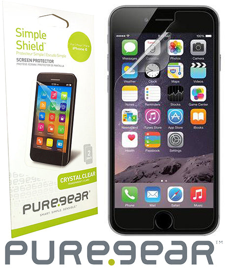 2X PUREGEAR SCREEN PROTECTOR SIMPLE SHIELD SCRATCH SAVER FOR APPLE iPHONE 6 6s