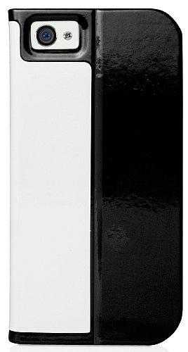 MACALLY WHITE BLACK SLIM-COVER FOLIO STAND BOOK CASE FOR iPHONE 5 5s SE (2016)