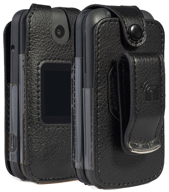 Black Vegan Leather Case with Belt Clip for Alcatel SmartFlip (2019), Go Flip 3