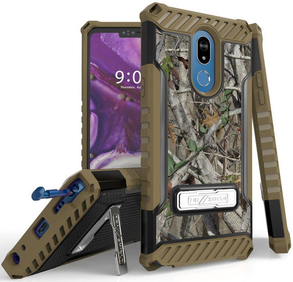 Outdoor Camo Tree Real Woods Case Rugged Cover Kickstand Strap for LG Stylo 5