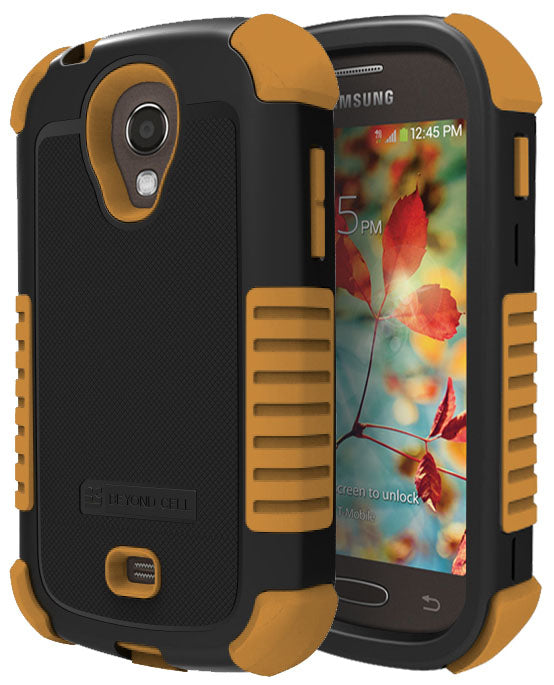 BROWN DUO-SHIELD RUBBER SKIN HARD CASE COVER FOR SAMSUNG GALAXY LIGHT T399 PHONE