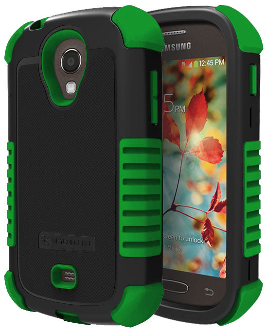 GREEN DUO-SHIELD RUBBER SKIN HARD CASE COVER FOR SAMSUNG GALAXY LIGHT T399 PHONE