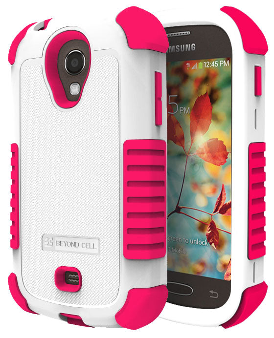 WHITE PINK DUO-SHIELD RUBBER SKIN HARD CASE COVER FOR SAMSUNG GALAXY LIGHT T399
