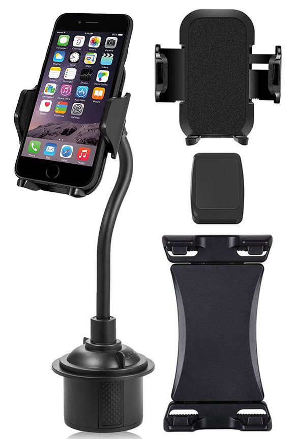 Triple Threat Car Cup Holder Phone Mount Universal - Adjustable/Padded/Magnetic
