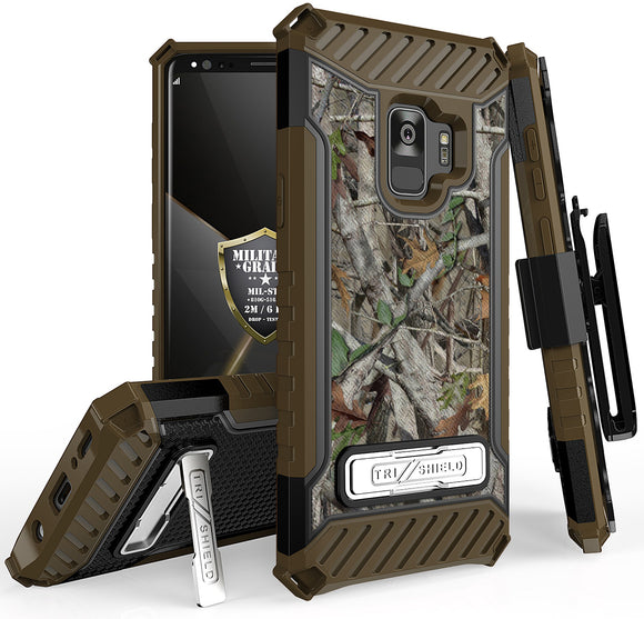 AUTUMN CAMO TREE REAL WOODS CASE STAND + BELT CLIP HOLSTER FOR SAMSUNG GALAXY S9