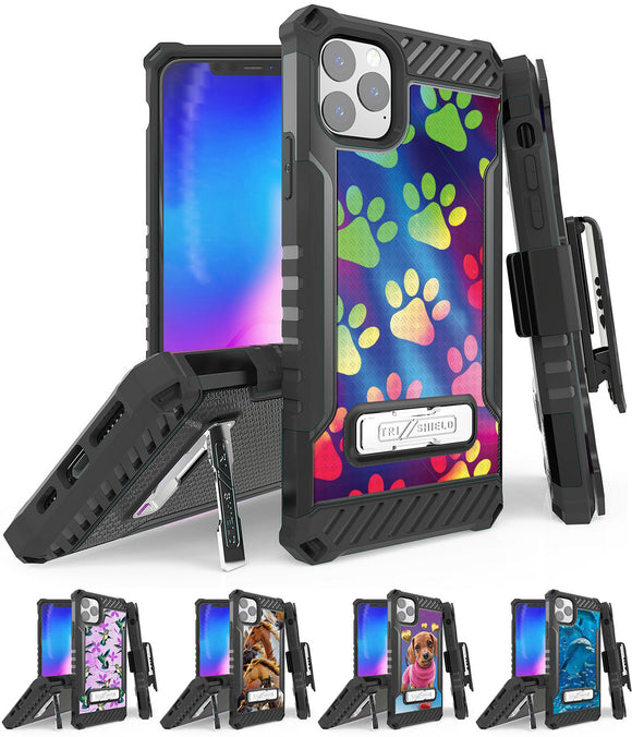 Rugged Tri-Shield Case + Belt Clip for iPhone 11 PRO MAX - Adorable Animals