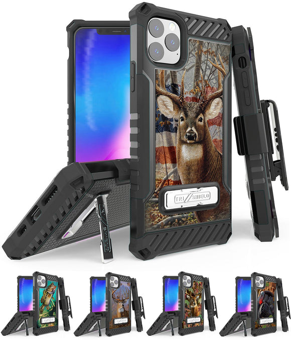 Rugged Tri-Shield Case + Belt Clip for Apple iPhone 11 PRO MAX - Hunter Series
