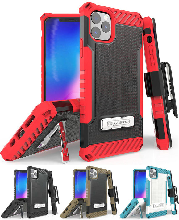 Tri-Shield Rugged Case Kickstand Cover Belt Clip Holster for Apple iPhone 11 Pro