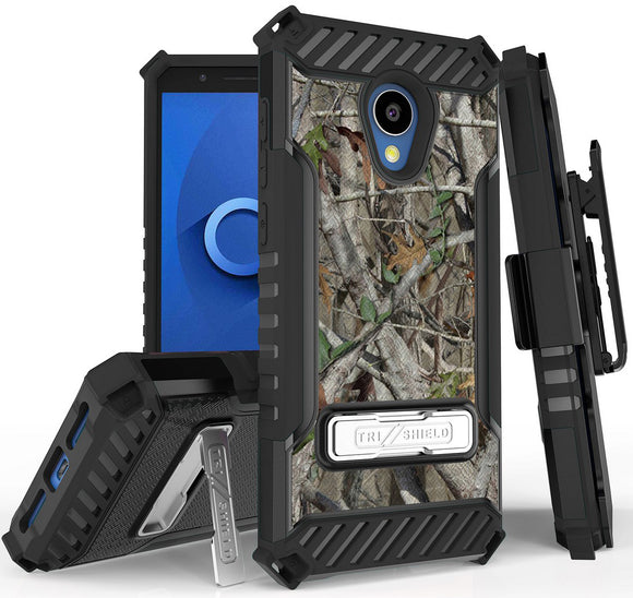 Outdoor Camo Tree Real Woods Case + Belt Clip for Alcatel 1X Evolve, IdealXTRA