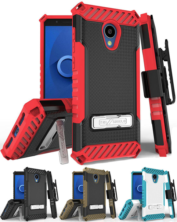 Tri-Shield Rugged Case + Belt Clip Holster + Strap for Alcatel TCL LX (A502DL)