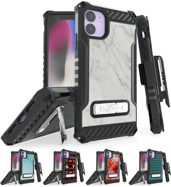Rugged Tri-Shield Case + Belt Clip for Apple iPhone 11 - Designer Series