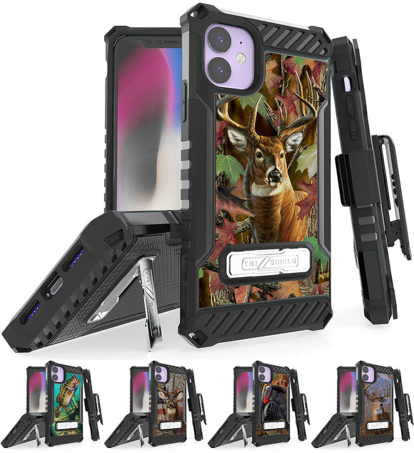 Rugged Tri-Shield Case + Belt Clip for Apple iPhone 11 - Hunter Series