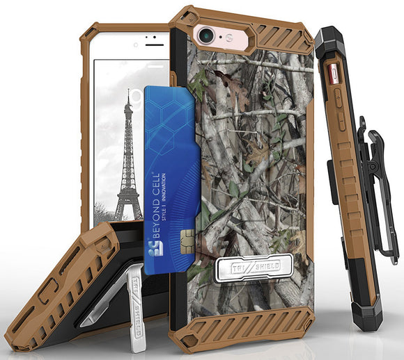 AUTUMN CAMO TREE REAL WOODS CASE STAND CARD SLOT STRAP BELT CLIP FOR iPHONE 8/7