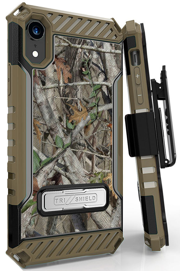 Autumn Camo Tree Real Woods Case Cover Belt Clip Strap for Apple iPhone XR 6.1