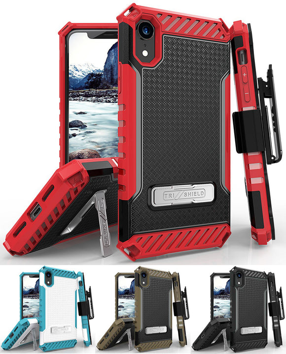 Tri-Shield Rugged Case Cover + Belt Clip Holster Strap for Apple iPhone XR 6.1