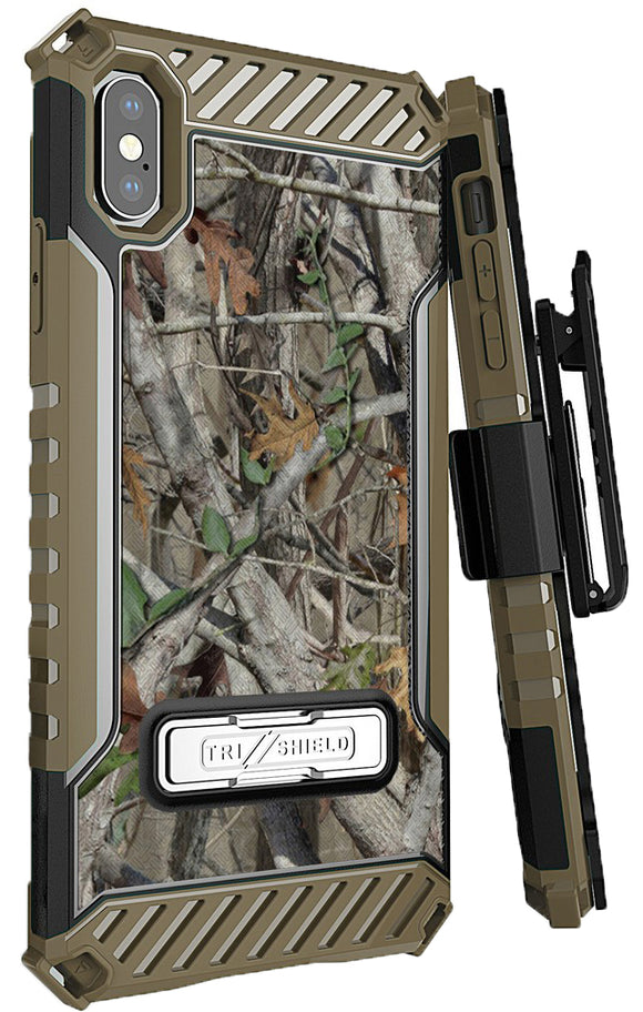 Autumn Camo Tree Real Woods Case Cover Belt Clip Strap for Apple iPhone Xs Max
