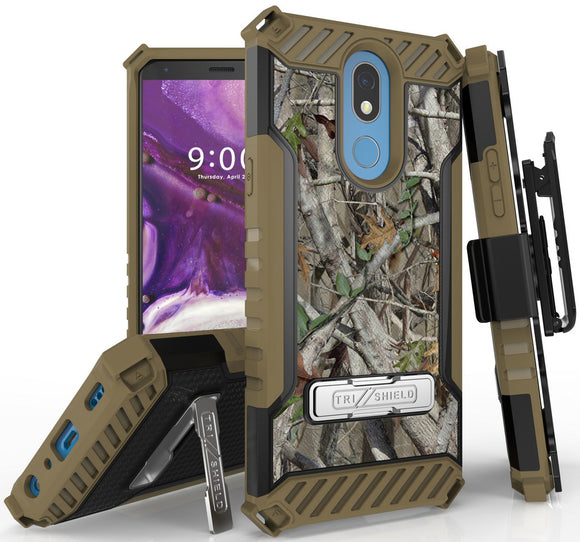 Outdoor Camo Tree Real Woods Case Cover Belt Clip for LG K40, Solo, K12 Plus