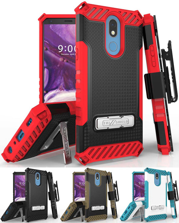 Tri-Shield Rugged Case Cover + Belt Clip Holster + Strap for LG Xpression Plus 2