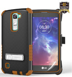 BROWN TRI-SHIELD CASE + BELT CLIP HOLSTER STAND FOR LG TRIBUTE 5 MS330/LS675/K7