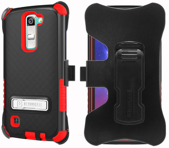 RED TRI-SHIELD CASE + BELT CLIP HOLSTER STAND FOR LG TRIBUTE 5 MS330/LS675/K7