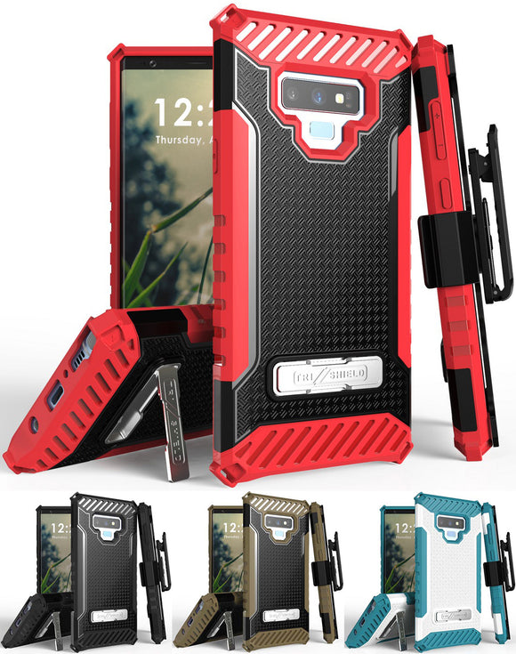 Tri-Shield Rugged Case Cover + Belt Clip Holster Strap for Samsung Galaxy Note 9