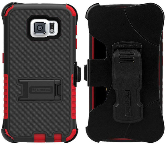 RED TRI-SHIELD HARD CASE COVER + BELT CLIP HOLSTER STAND FOR SAMSUNG GALAXY S6
