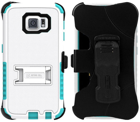 WHITE TURQUOISE TRI-SHIELD CASE + BELT CLIP HOLSTER STAND FOR SAMSUNG GALAXY S6