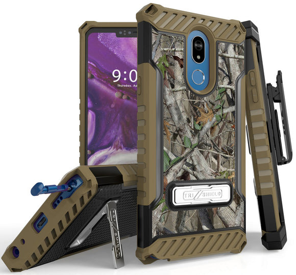 Outdoor Camo Tree Real Woods Case Rugged Cover Belt Clip Holster for LG Stylo 5