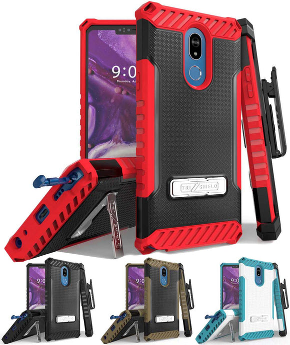 Tri-Shield Rugged Case Cover + Belt Clip Holster + Lanyard Strap for LG Stylo 5