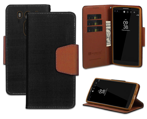 NEW BLACK/BROWN INFOLIO WALLET CREDIT CARD ID CASE COVER STAND FOR LG V10 PHONE