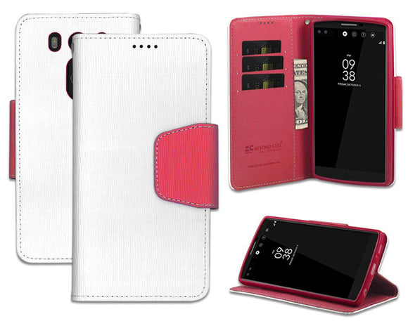 NEW WHITE/PINK INFOLIO WALLET CREDIT CARD ID CASE COVER STAND FOR LG V10 PHONE