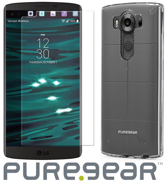PUREGEAR CLEAR CASE COVER + PURETEK TEMPERED GLASS SCREEN PROTECTOR FOR LG V10