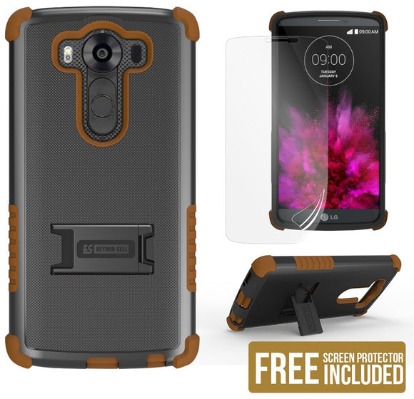 BROWN RUGGED TRI-SHIELD SOFT RUBBER SKIN HARD CASE COVER STAND FOR LG V10 PHONE
