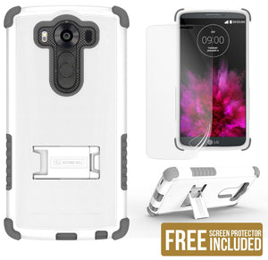 WHITE GRAY TRI-SHIELD SOFT RUBBER SKIN HARD CASE COVER STAND FOR LG V10 PHONE