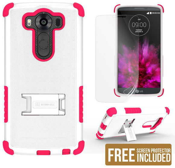 WHITE PINK TRI-SHIELD SOFT RUBBER SKIN HARD CASE COVER STAND FOR LG V10 PHONE