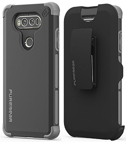 PUREGEAR BLACK DUALTEK EXTREME RUGGED CASE + BELT CLIP HIP HOLSTER FOR LG V20