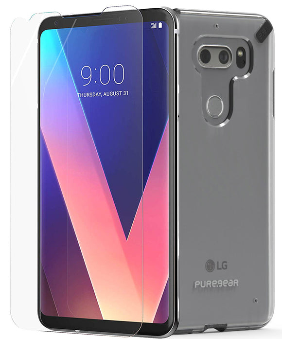 PureGear Black/Clear Slim Shell Case + ImpactShield for LG V30/V30 Plus/V30s/V35