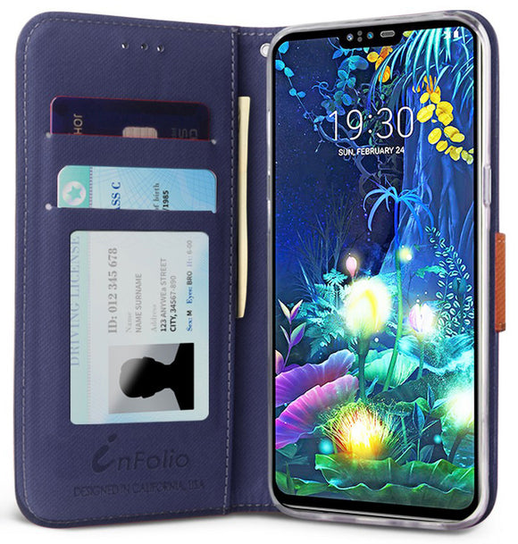 Durable Secure Wallet Case Credit Card Slot Cover + Wrist Strap for LG V50 ThinQ