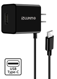 Black 2.1A USB TYPE-C TRAVEL WALL CHARGER USB PORT FOR ZTE ZMAX PRO, BLADE X