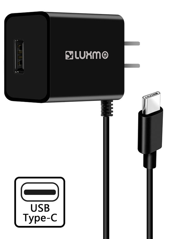 Black 2.1A USB TYPE-C TRAVEL WALL CHARGER WITH USB PORT