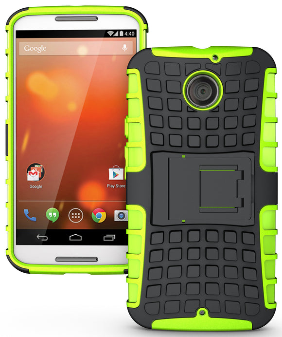 NEON LIME GREEN GRENADE GRIP SKIN HARD CASE COVER STAND FOR MOTO-X 2nd GEN 2014