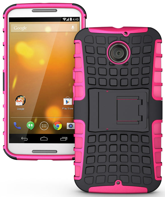 PINK GRENADE GRIP RUGGED TPU SKIN HARD CASE COVER STAND FOR MOTO-X 2nd GEN 2014