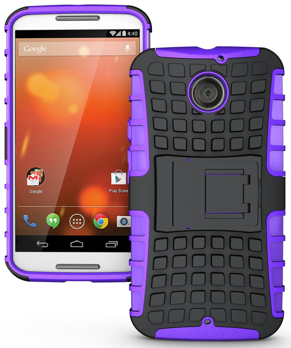 PURPLE GRENADE GRIP RUGGED SKIN HARD CASE COVER STAND FOR MOTO-X 2nd GEN 2014
