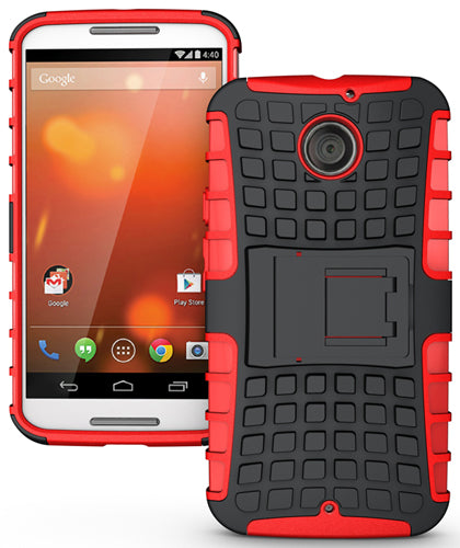 RED GRENADE GRIP RUGGED TPU SKIN HARD CASE COVER STAND FOR MOTO-X 2nd GEN 2014
