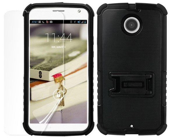 BLACK TRI-SHIELD RUGGED CASE STAND SCREEN PROTECTOR FOR MOTOROLA MOTO-X 2nd GEN