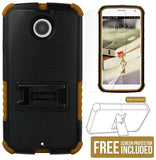 BROWN TRI-SHIELD CASE COVER STAND SCREEN PROTECTOR FOR MOTOROLA MOTO-X 2nd GEN